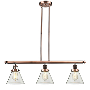 Large Cone Antique Copper Three-Light LED Island Pendant with Clear Cone Glass