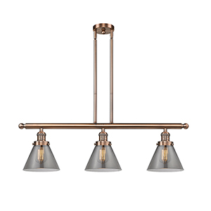 Large Cone Antique Copper Three-Light LED Island Pendant with Smoked Cone Glass