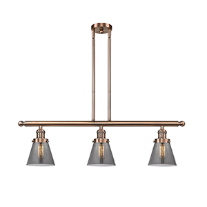 Small Cone Antique Copper Three-Light LED Island Pendant with Smoked Cone Glass