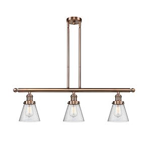 Small Cone Antique Copper Three-Light LED Island Pendant with Seedy Cone Glass