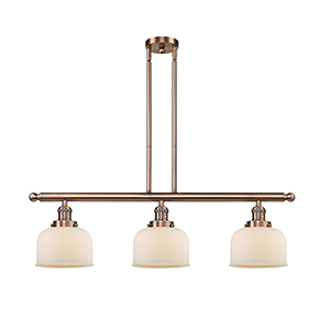 Large Bell Antique Copper Three-Light LED Island Pendant with Matte White Cased Dome Glass