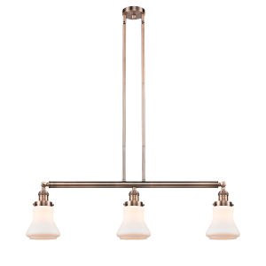 Bellmont Antique Copper Three-Light LED Adjustable Island Pendant with Matte White Glass