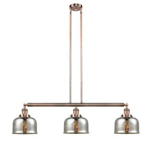 Large Bell Antique Copper Three-Light Adjustable Island Pendant