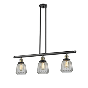 Chatham Black Antique Brass Three-Light LED Island Pendant with Clear Fluted Novelty Glass