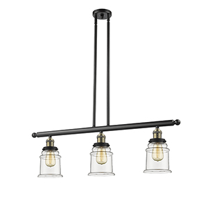 Canton Black Antique Brass Three-Light Island Pendant with Clear Bell Glass