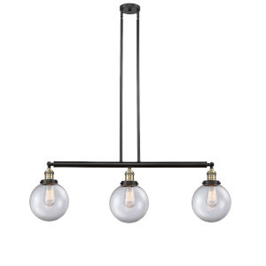 Franklin Restoration Black Antique Brass 41-Inch Three-Light LED Island Chandelier with Clear Glass Shade