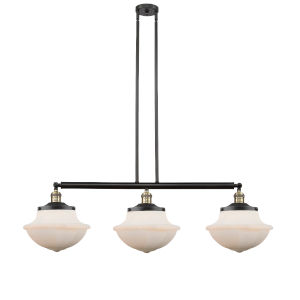 Franklin Restoration Black Antique Brass 42-Inch Three-Light LED Island Chandelier with Matte White Cased Large Oxford Shade