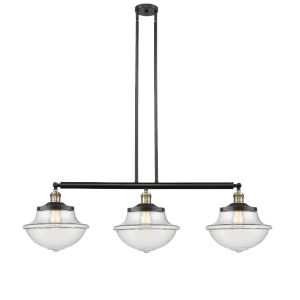 Franklin Restoration Black Antique Brass 42-Inch Three-Light LED Island Chandelier with Clear Large Oxford Shade and Wire