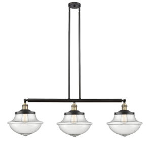 Franklin Restoration Black Antique Brass 42-Inch Three-Light LED Island Chandelier with Seedy Large Oxford Shade and Wire