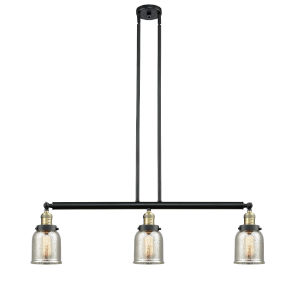 Franklin Restoration Black Antique Brass 38-Inch Three-Light LED Island Chandelier with Silver Plated Mercury Glass Shade