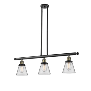 Small Cone Black Antique Brass Three-Light LED Island Pendant with Clear Cone Glass