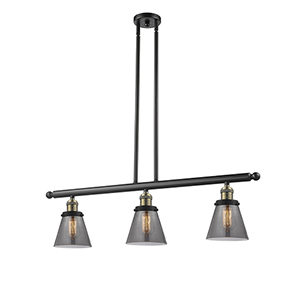 Small Cone Black Antique Brass Three-Light LED Island Pendant with Smoked Cone Glass
