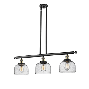 Large Bell Black Antique Brass 36-Inch Three-Light LED Island Pendant with Seedy Dome Glass