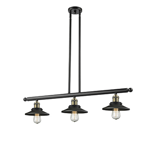 Railroad Black Antique Brass Three-Light LED Island Pendant with Matte Black Metal Shade