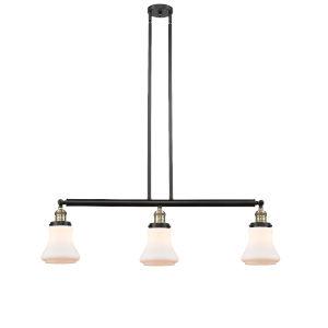 Bellmont Black Antique Brass Three-Light LED Adjustable Island Pendant with Matte White Glass