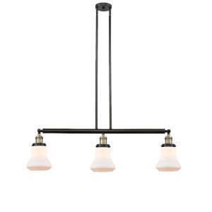 Bellmont Black Antique Brass Three-Light Adjustable Island Pendant with Matte White Glass