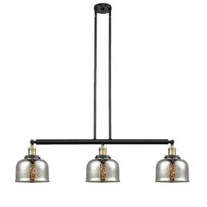 Large Bell Black Antique Brass Three-Light Adjustable Island Pendant