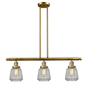 Chatham Brushed Brass Three-Light Island Pendant with Clear Fluted Novelty Glass