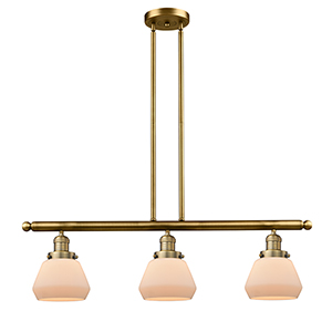 Fulton Brushed Brass Three-Light Island Pendant with Matte White Cased Sphere Glass