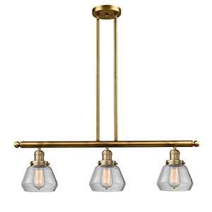 Fulton Brushed Brass Three-Light Island Pendant with Clear Sphere Glass