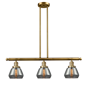 Fulton Brushed Brass Three-Light Island Pendant with Smoked Sphere Glass