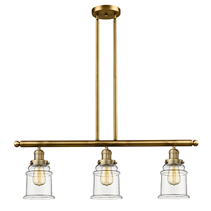 Canton Brushed Brass Three-Light Island Pendant with Clear Bell Glass