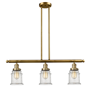 Canton Brushed Brass Three-Light LED Island Pendant with Seedy Bell Glass