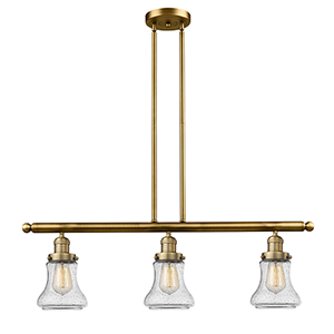 Bellmont Brushed Brass Three-Light Island Pendant with Seedy Hourglass Glass