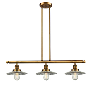 Halophane Brushed Brass Three-Light LED Island Pendant with Halophane Cone Glass