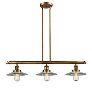 Halophane Brushed Brass Three-Light LED Island Pendant with Halophane Cone Glass