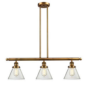 Large Cone Brushed Brass Three-Light LED Island Pendant with Clear Cone Glass