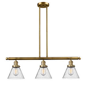 Large Cone Brushed Brass Three-Light LED Island Pendant with Seedy Cone Glass