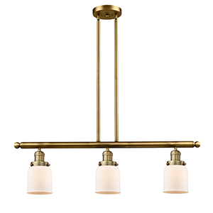 Small Bell Brushed Brass Three-Light LED Island Pendant with Matte White Cased Bell Glass