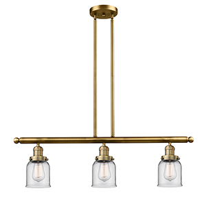 Small Bell Brushed Brass Three-Light Island Pendant with Clear Bell Glass