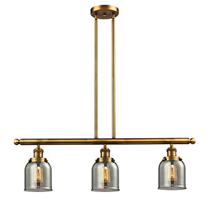 Small Bell Brushed Brass Three-Light LED Island Pendant with Smoked Bell Glass