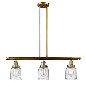 Small Bell Brushed Brass Three-Light LED Island Pendant with Seedy Bell Glass