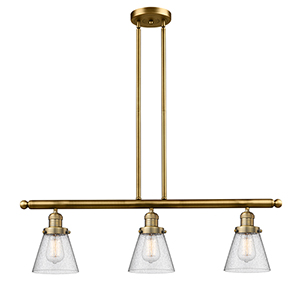 Small Cone Brushed Brass Three-Light LED Island Pendant with Seedy Cone Glass