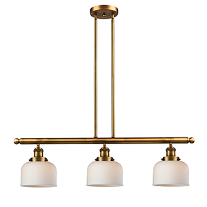 Large Bell Brushed Brass Three-Light LED Island Pendant with Matte White Cased Dome Glass