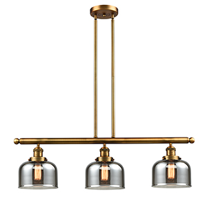 Large Bell Brushed Brass Three-Light LED Island Pendant with Smoked Dome Glass