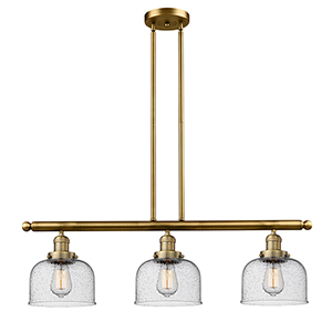 Large Bell Brushed Brass Three-Light Island Pendant with Seedy Dome Glass