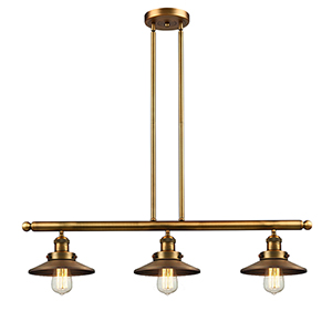 Railroad Brushed Brass Three-Light LED Island Pendant