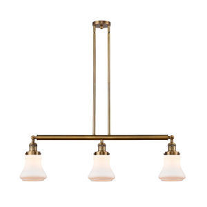 Bellmont Brushed Brass Three-Light Adjustable Island Pendant with Matte White Glass