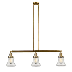 Bellmont Brushed Brass Three-Light Island Pendant with Clear Glass