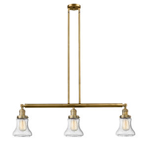 Bellmont Brushed Brass Three-Light Adjustable Island Pendant with Seedy Glass