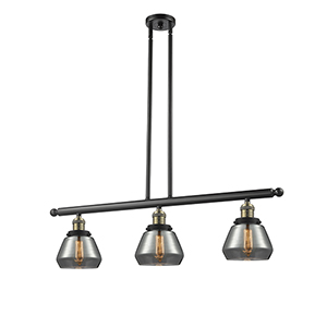 Fulton Black Brushed Brass Three-Light LED Island Pendant with Smoked Sphere Glass