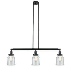 Franklin Restoration Matte Black 39-Inch Three-Light LED Island Chandelier with Clear Canton Shade and Wire