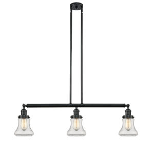Franklin Restoration Matte Black 39-Inch Three-Light LED Island Chandelier with Clear Bellmont Shade and Wire