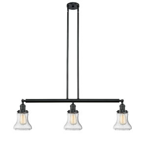 Bellmont Black 36-Inch Three-Light LED Island Pendant with Seedy Hourglass Glass