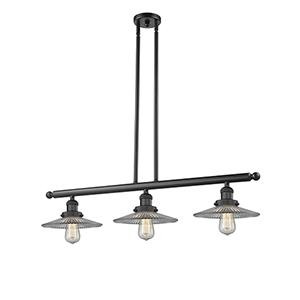 Halophane Black 36-Inch Three-Light LED Island Pendant with Halophane Cone Glass
