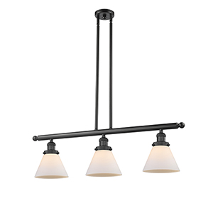 Large Cone Black 36-Inch Three-Light LED Island Pendant with Matte White Cased Cone Glass